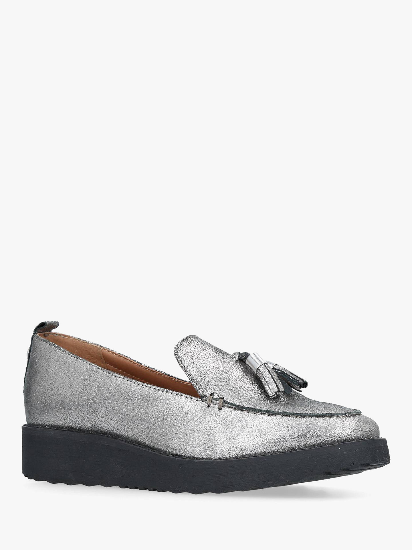 BuyCarvela Mystery Wedge Heel Loafers, Silver Leather, 7 Online at johnlewis.com
