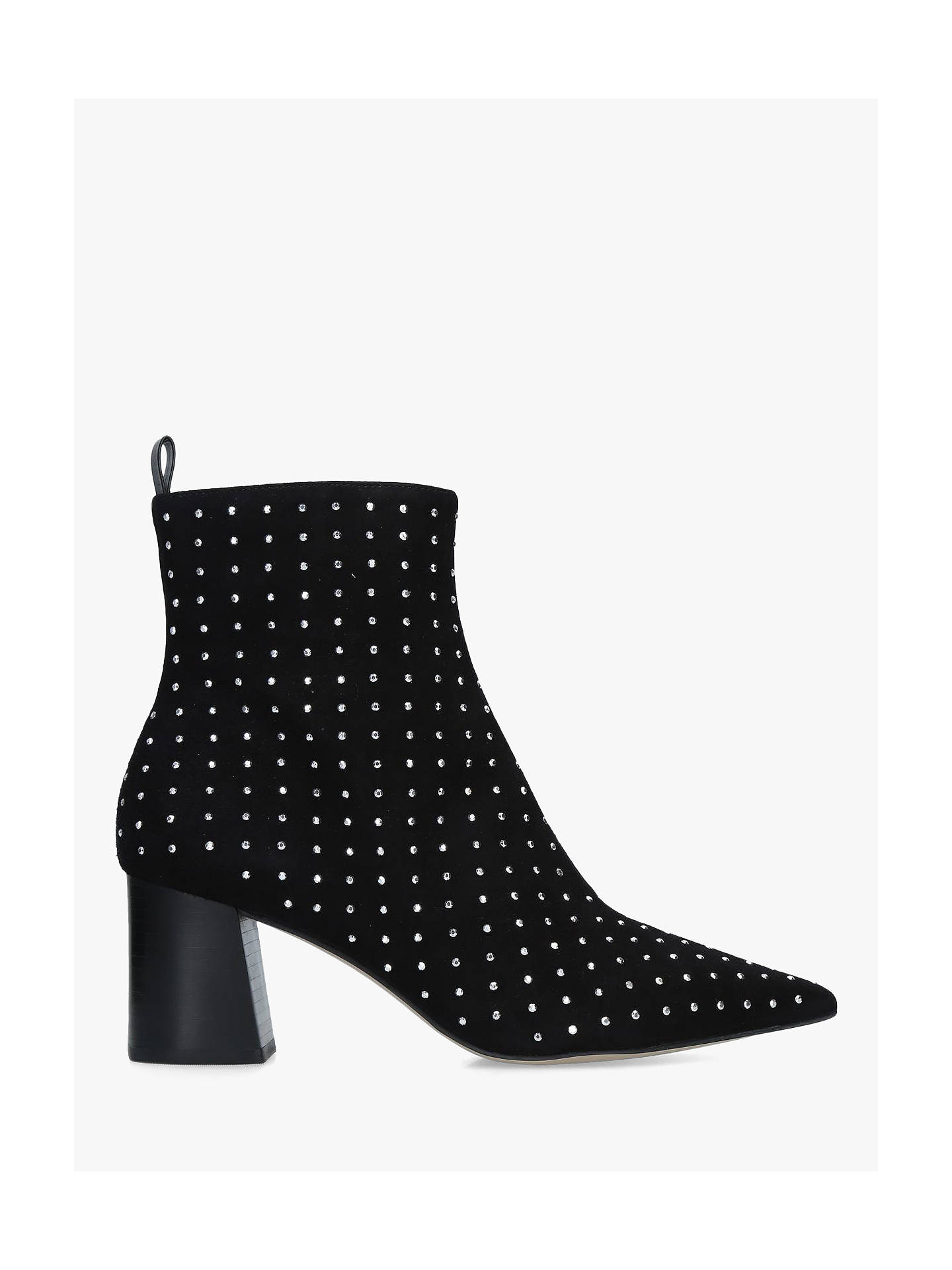 f9120439a8 Carvela Glitter Suede Block Heel Ankle Boots, Black at John Lewis ...