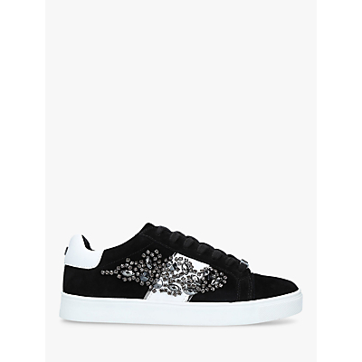 Carvela Lustre 3 Embellished Lace Up Trainers, Black Suede