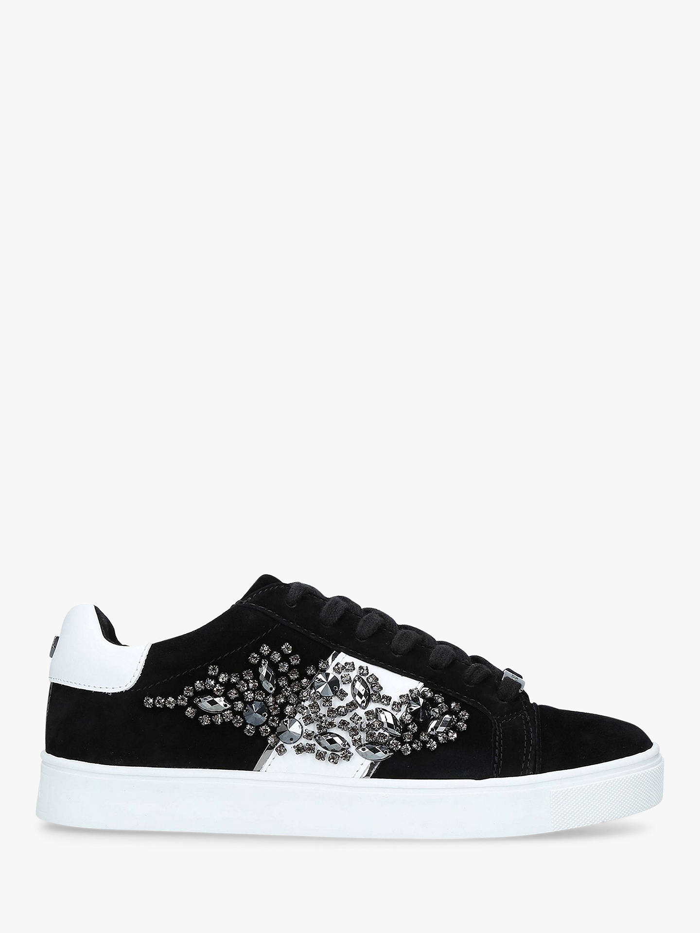 BuyCarvela Lustre 3 Embellished Lace Up Trainers, Black Suede, 3 Online at johnlewis.com