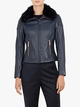 Ted Baker Tamri Leather Jacket, Navy