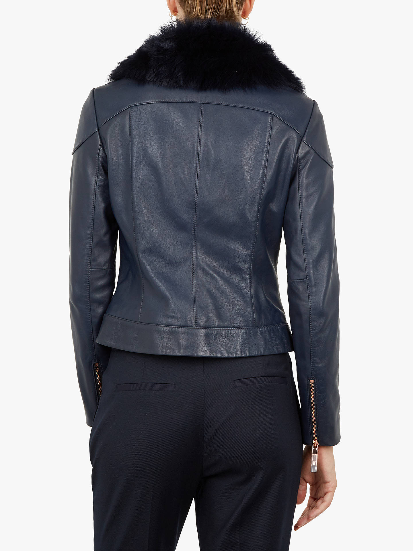 BuyTed Baker Tamri Leather Jacket, Navy, 1 Online at johnlewis.com