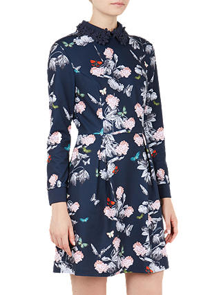 Buy Ted Baker Rayla Narrnia Floral Skater Dress, Blue, S Online at johnlewis.com