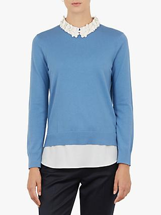 Ted Baker Nansea Floral Collar Jumper, Blue
