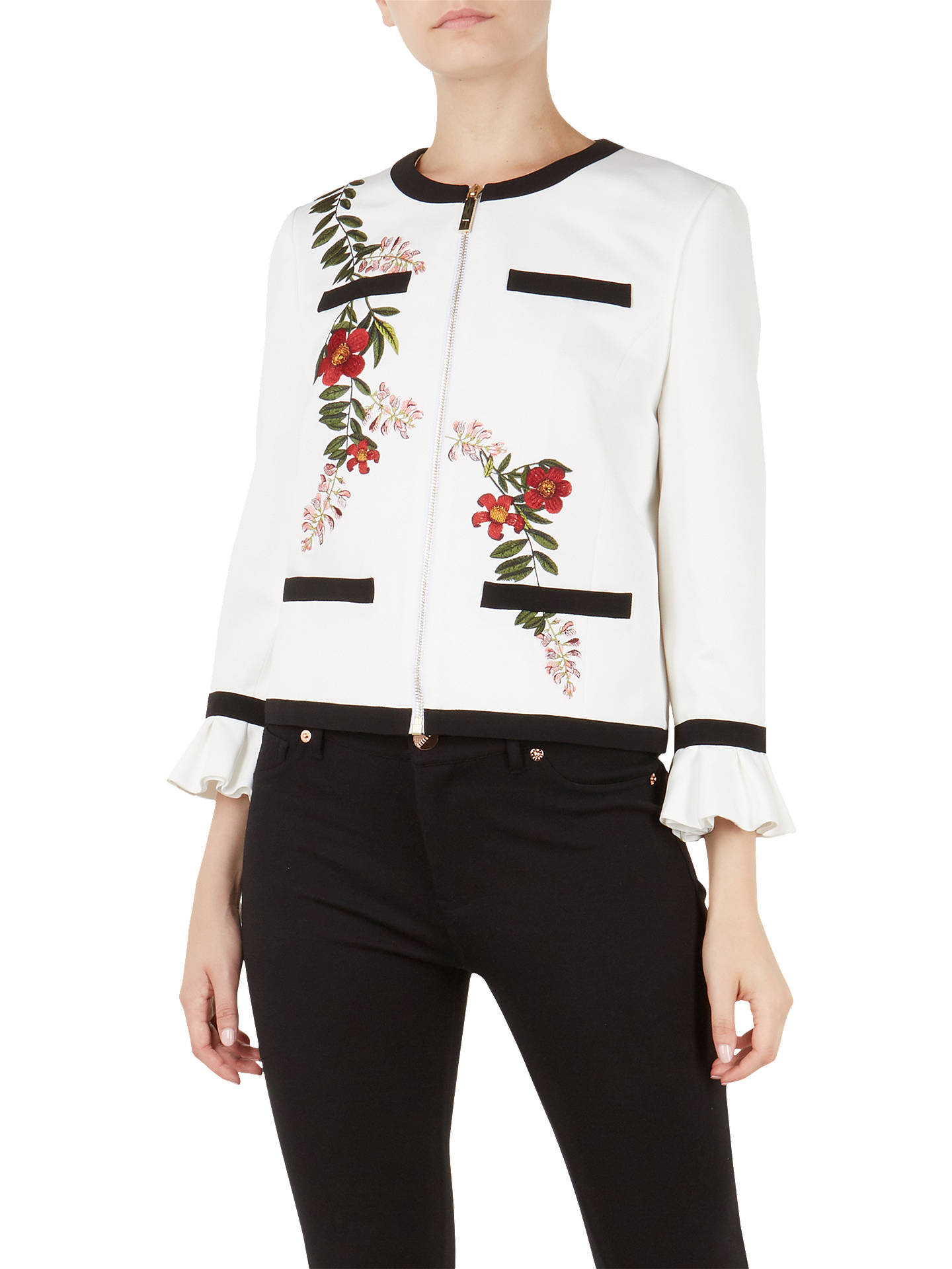 Buy Ted Baker Aimmii Embroidered Jacket, Ivory, 0 Online at johnlewis.com