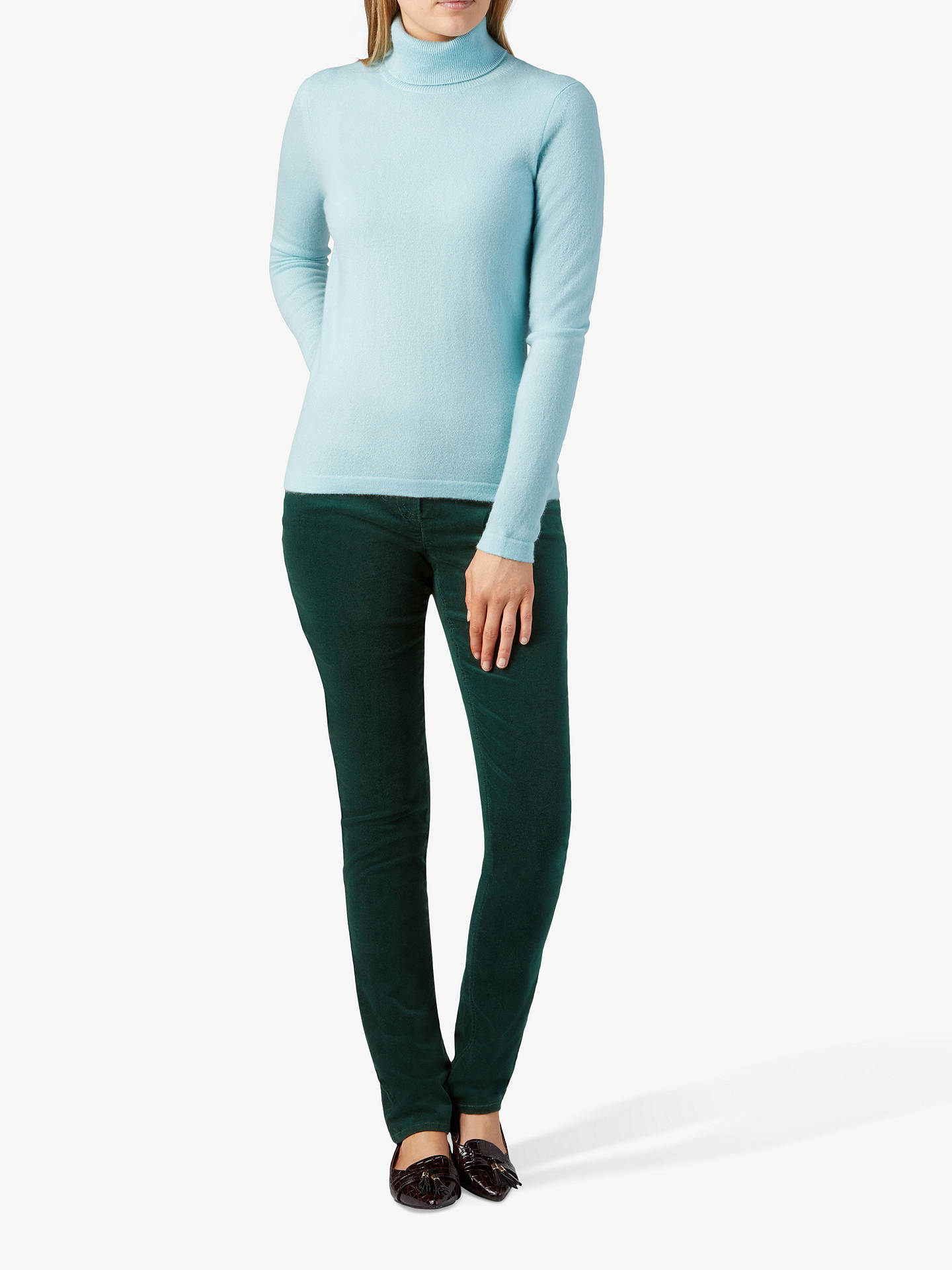 Buy Pure Collection Washed Velvet Jeans, Forest Green, 14 Online at johnlewis.com