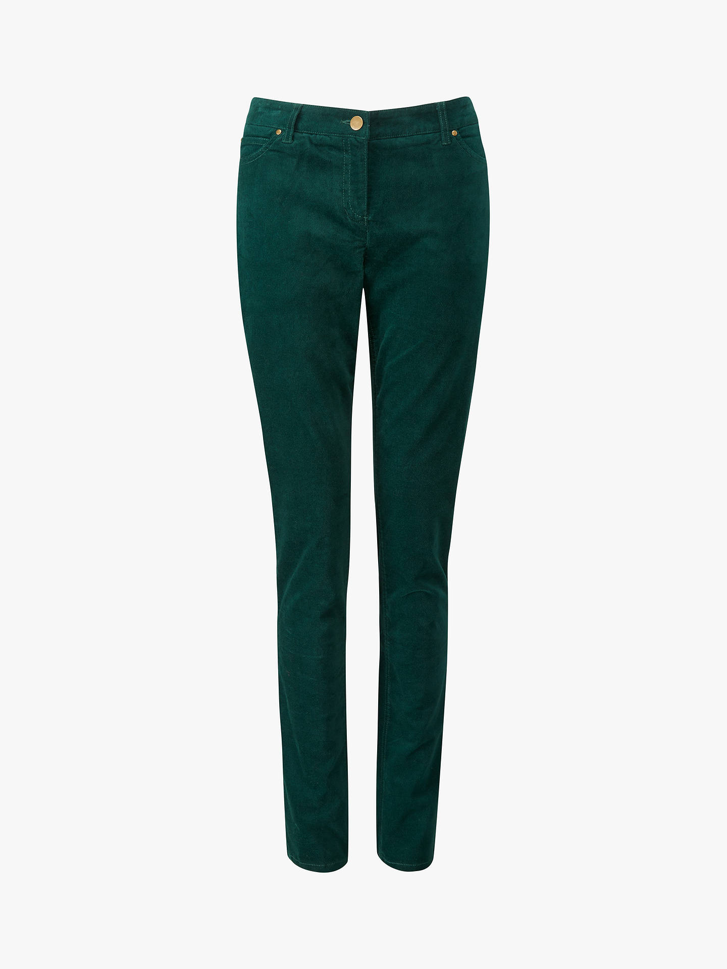 Buy Pure Collection Washed Velvet Jeans, Forest Green, 8 Online at johnlewis.com