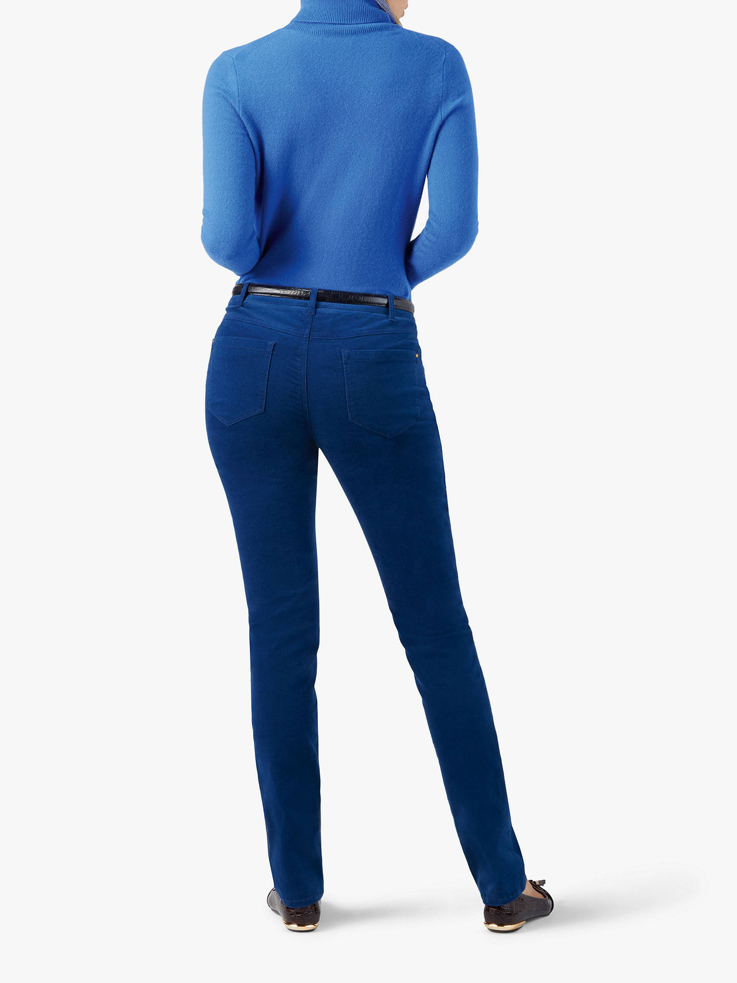 Buy Pure Collection Washed Velvet Jeans, Cobalt Blue, 12 Online at johnlewis.com