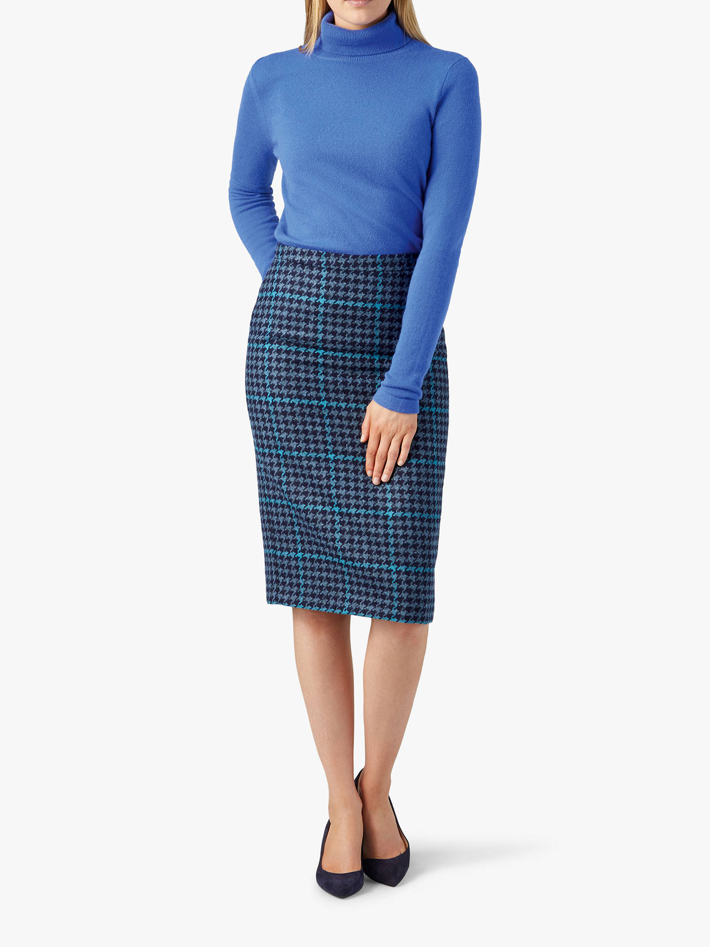 BuyPure Collection Wool Pencil Skirt, Multi Blue, 12 Online at johnlewis.com