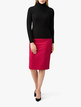 Pure Collection Wool Pencil Skirt, Rich Berry