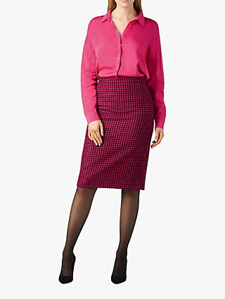 Pure Collection Wool Check Print Pencil Skirt, Pink/Red Dogtooth