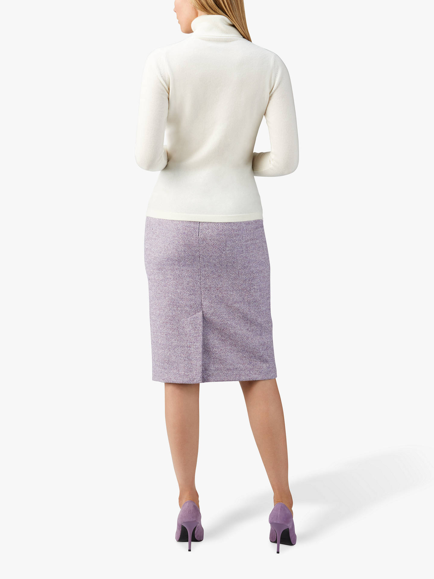 Buy Pure Collection Wool Pencil Skirt, Lilac, 20 Online at johnlewis.com