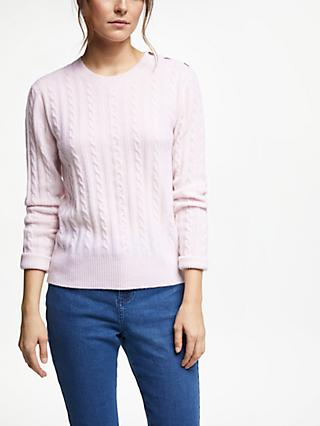 Collection WEEKEND by John Lewis Cashmere Cable Knit Crew Neck Jumper, Soft Pink