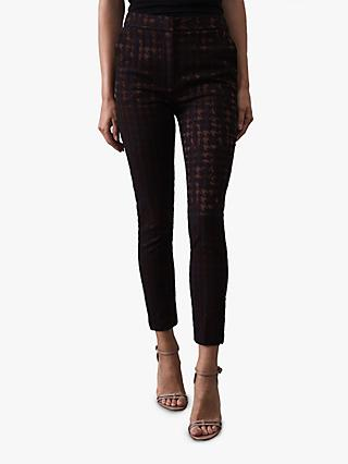 Reiss Laura Metallic Houndstooth Jacquard Skinny Trousers, Black