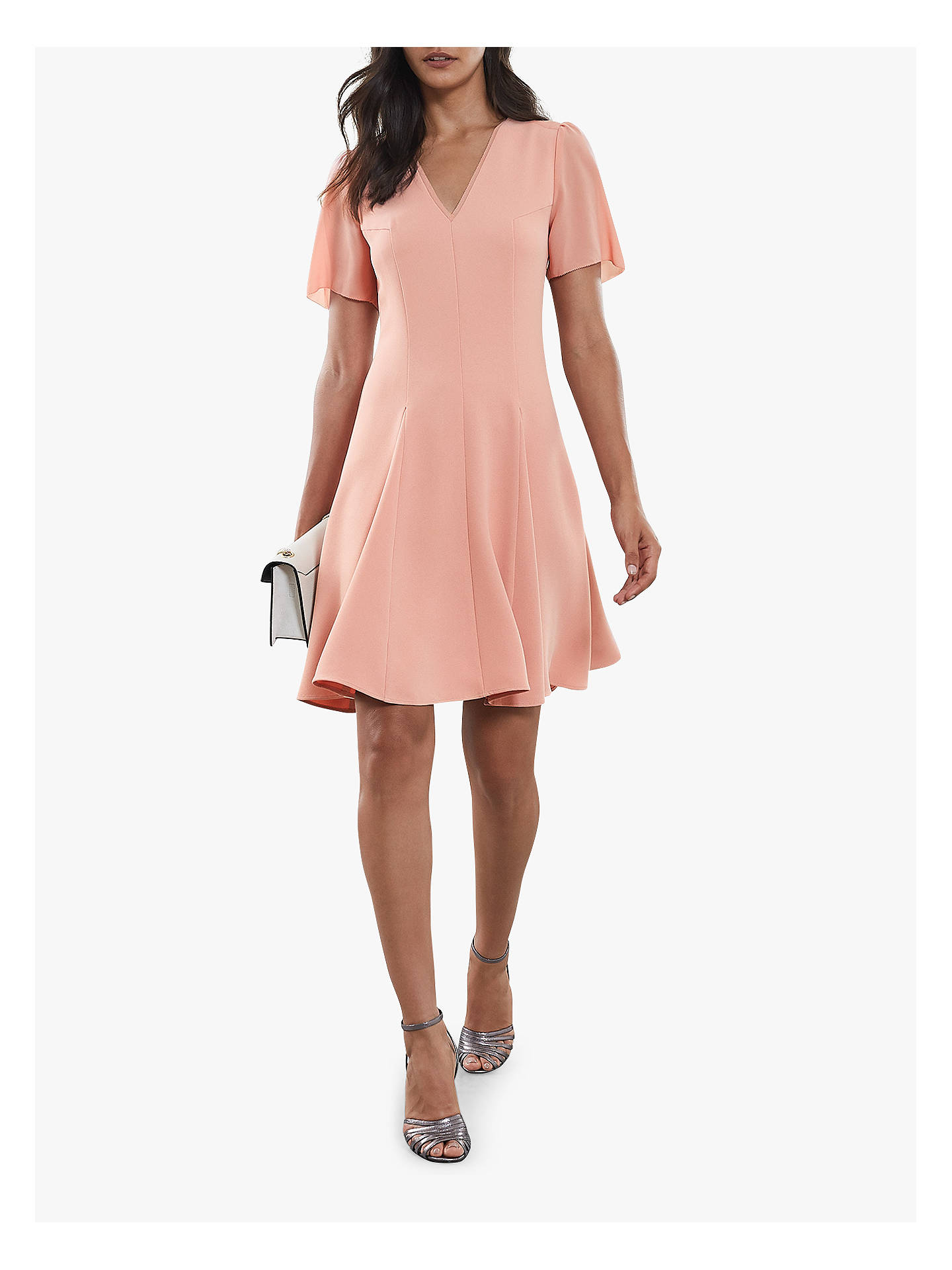 Buy Reiss Seamed Sleeve Dress, Pale Pink, 6 Online at johnlewis.com