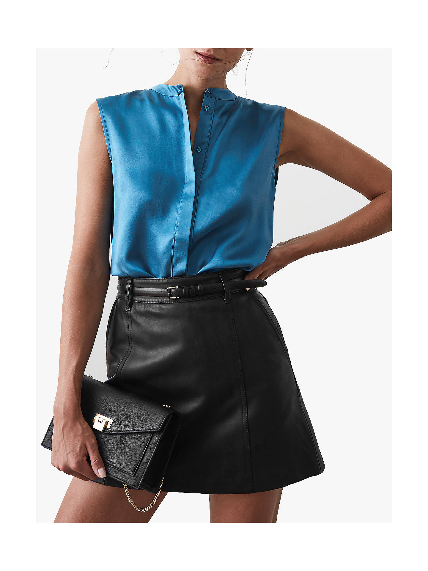 bf7673bbbeb9bf ... Buy Reiss Lila Silk Sleeveless Placket Top, Blue, 6 Online at  johnlewis.com ...