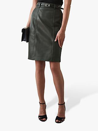 Reiss Kara Leather Pencil Skirt, Army Green