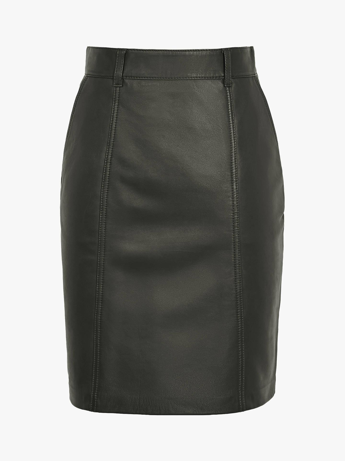 8c0557ebee6947 ... Buy Reiss Kara Leather Pencil Skirt, Army Green, 6 Online at  johnlewis.com ...
