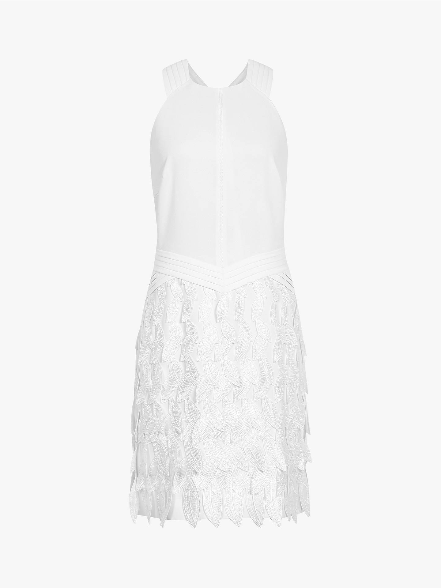 Buy Reiss Flora Feather Dress, White, 12 Online at johnlewis.com