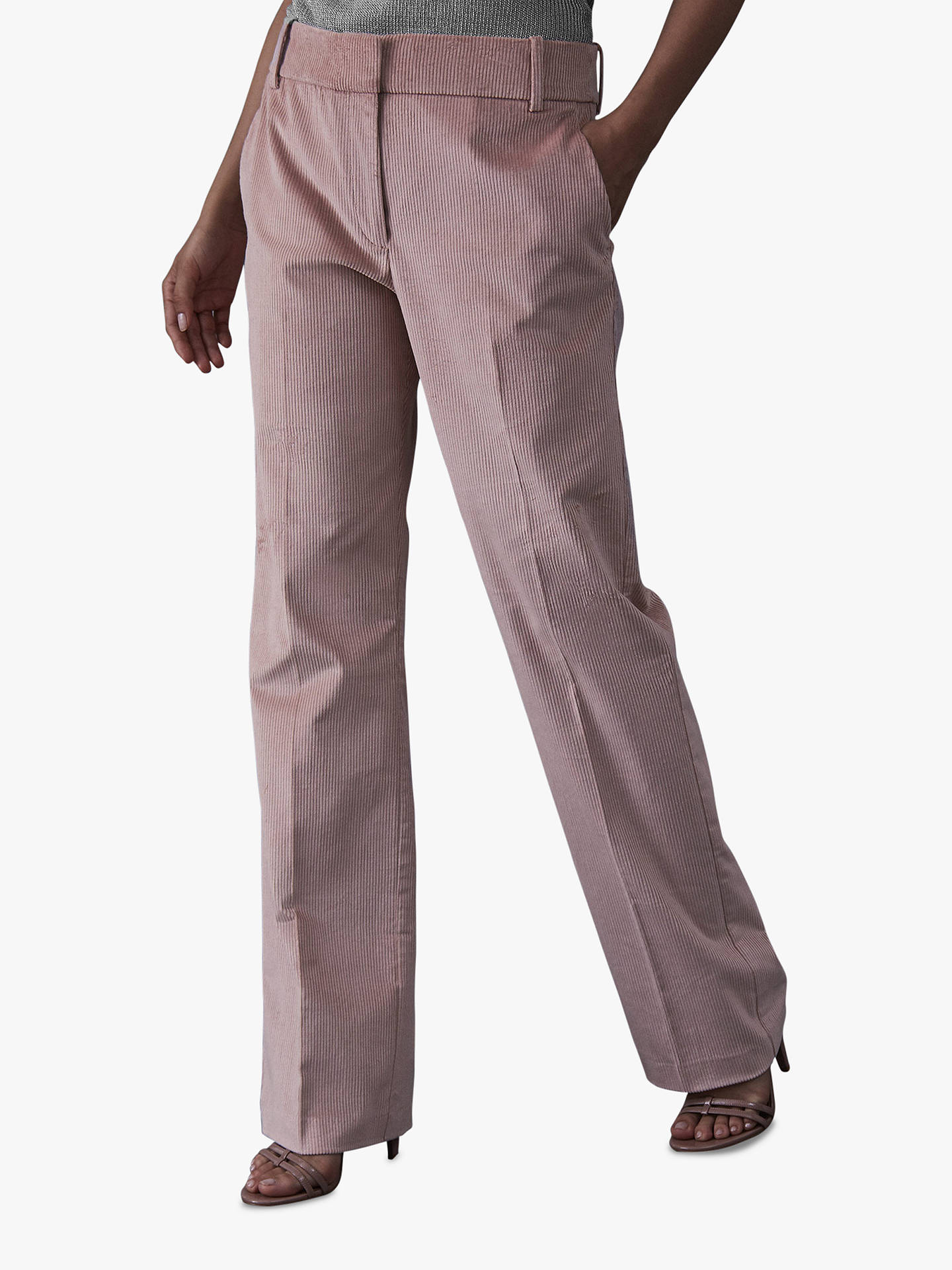BuyReiss Carie Corduroy Wide Leg Trousers, Blush, 6 Online at johnlewis.com