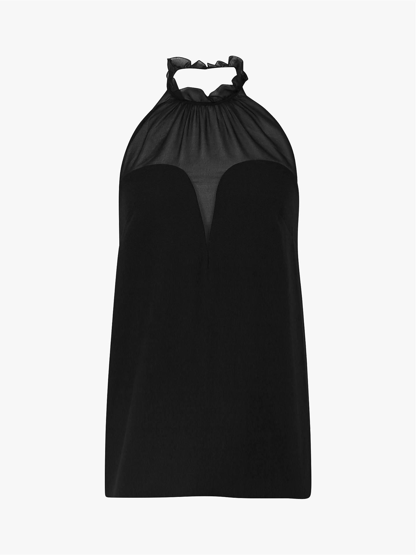 BuyReiss Delfina Ruffle Halter Top, Black, 6 Online at johnlewis.com