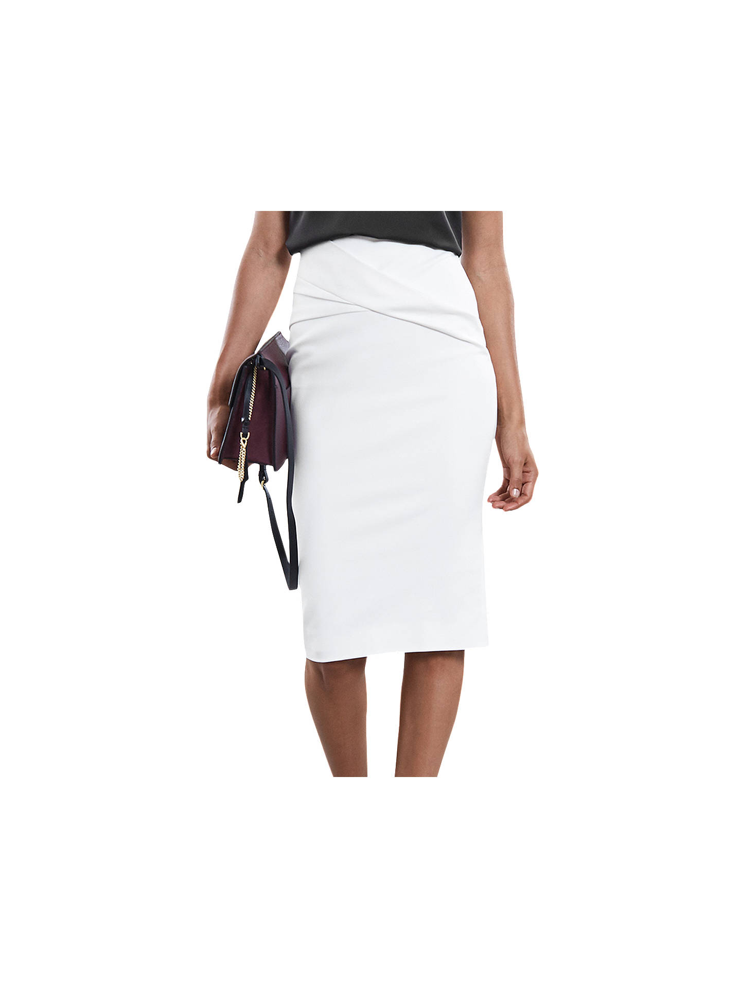 BuyReiss Jersey Pencil Skirt, Off White, 6 Online at johnlewis.com