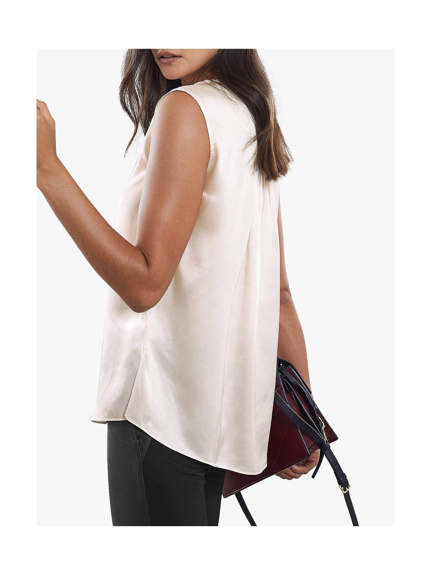 BuyReiss Lila Silk Sleeveless Placket Top, Off White, 6 Online at johnlewis.com