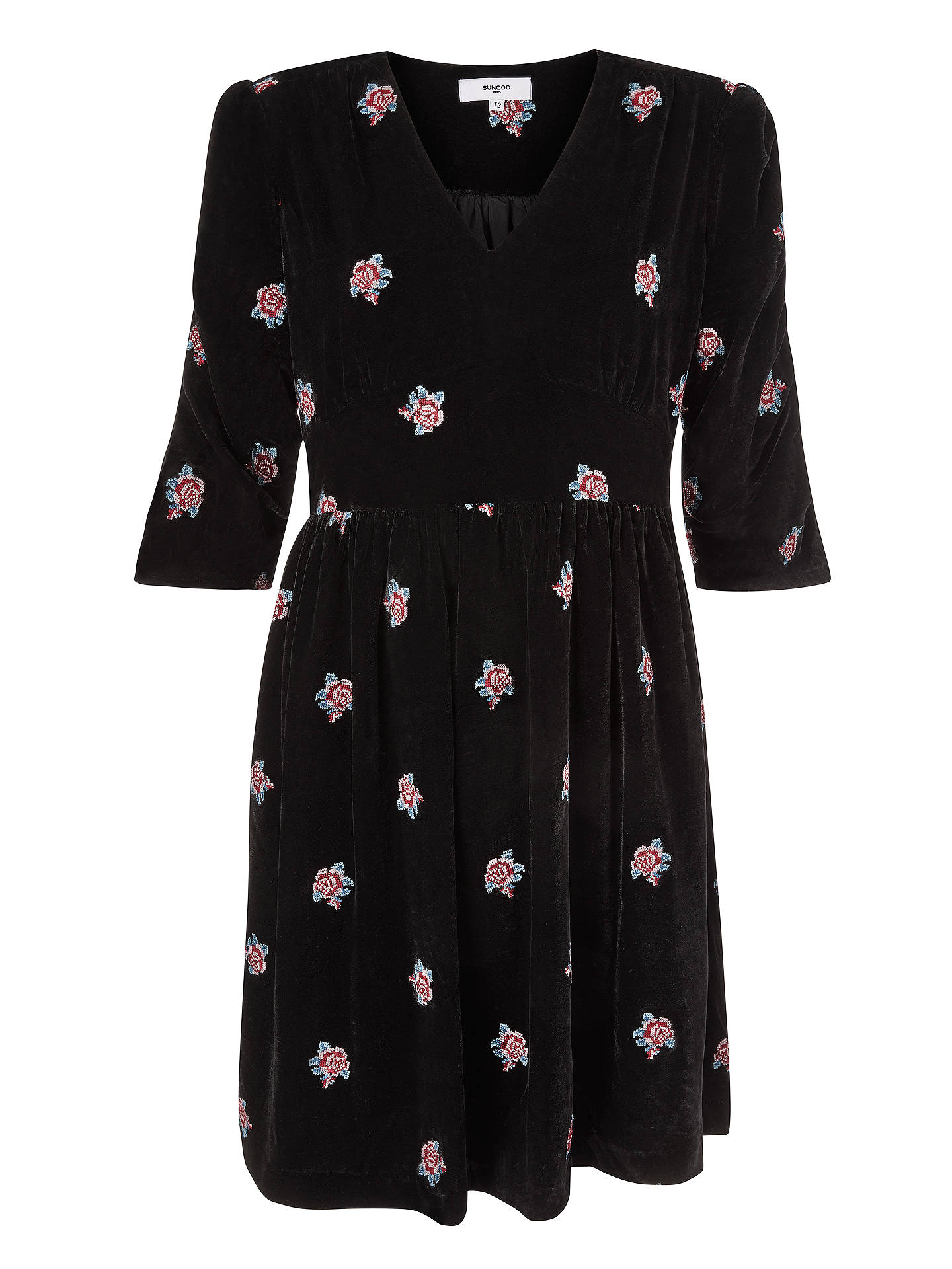 BuySUNCOO Clare Floral Velvet Dress, Noir, 6 Online at johnlewis.com