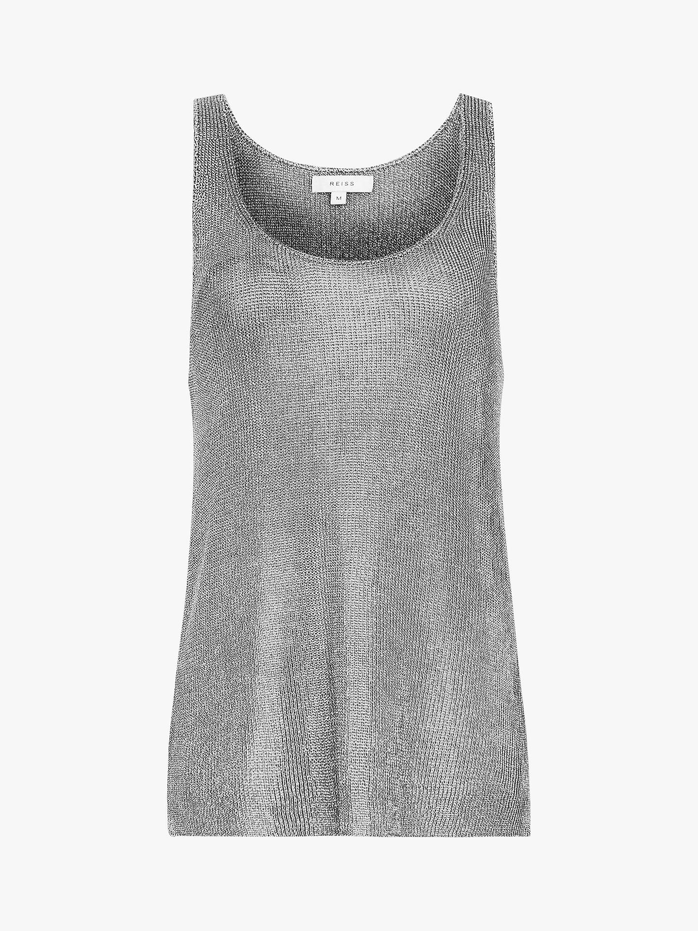 BuyReiss Lilian Metallic Knitted Top, Silver, M Online at johnlewis.com