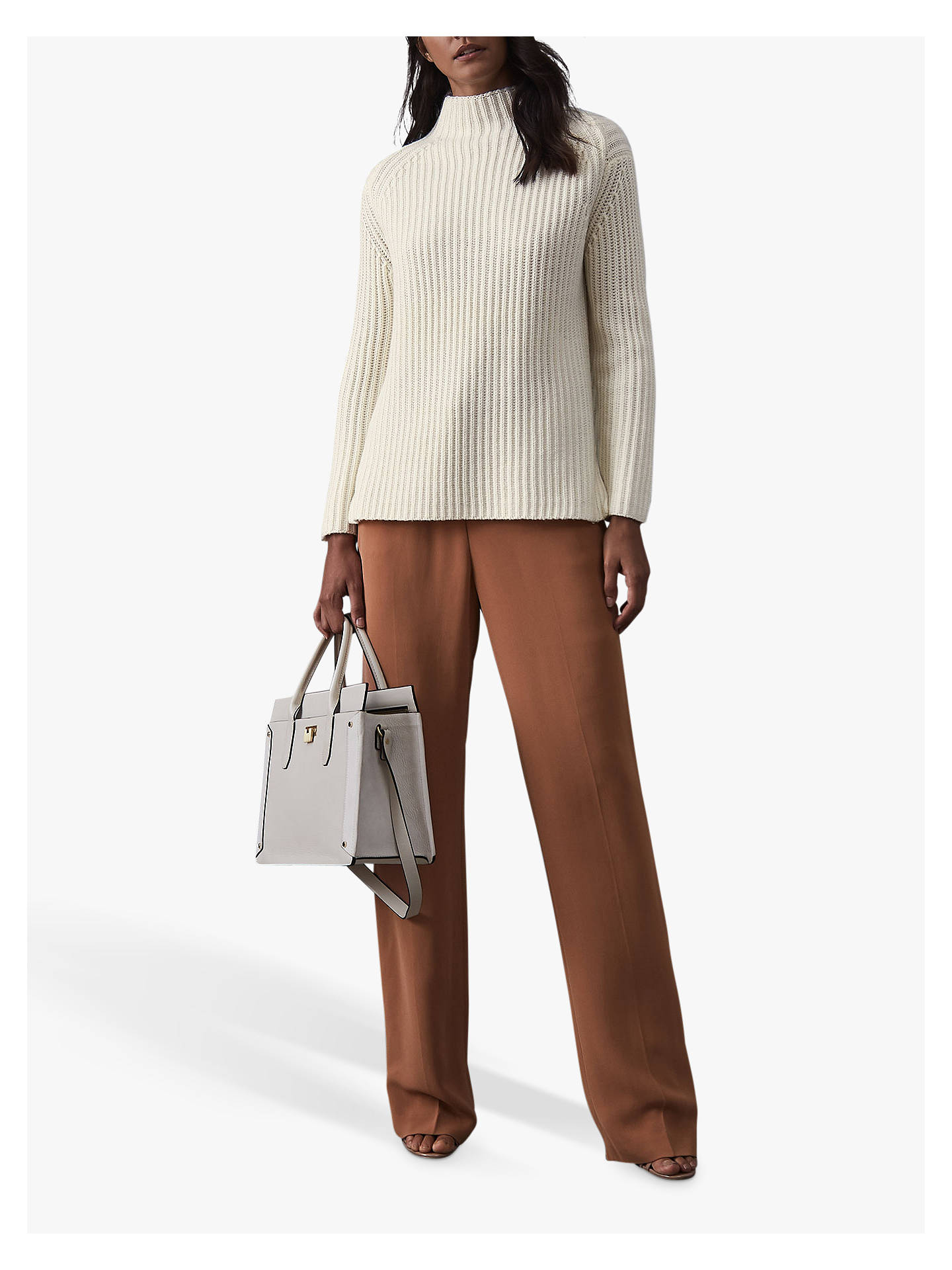 BuyReiss Sonia Chunky Ribbed Jumper, Off White, S Online at johnlewis.com