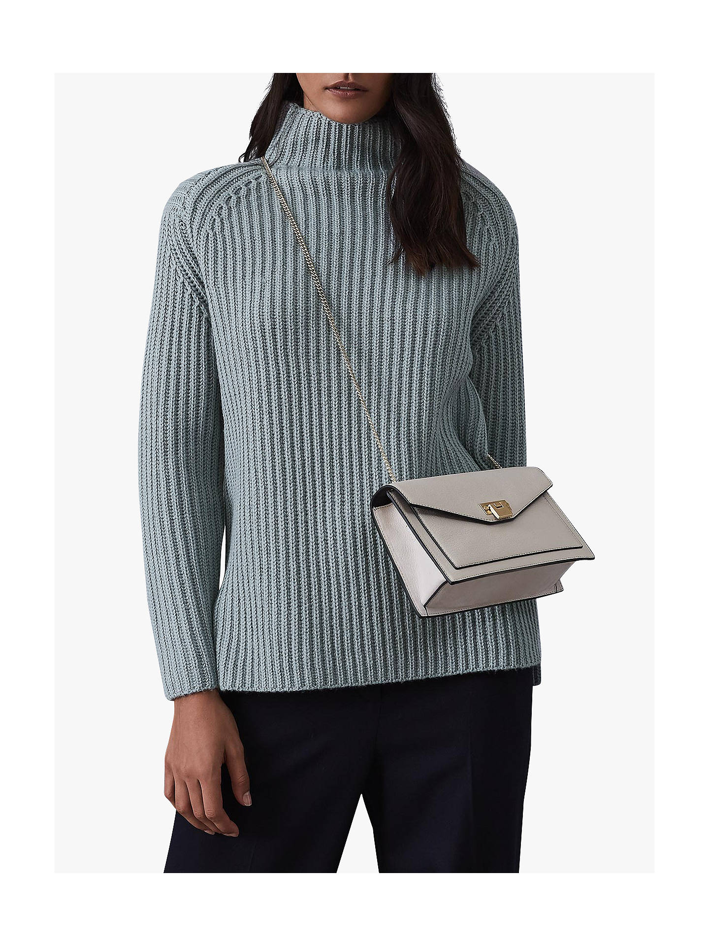 Buy Reiss Sonia Chunky Rib Funnel Neck Jumper, Pale Green, XS Online at johnlewis.com