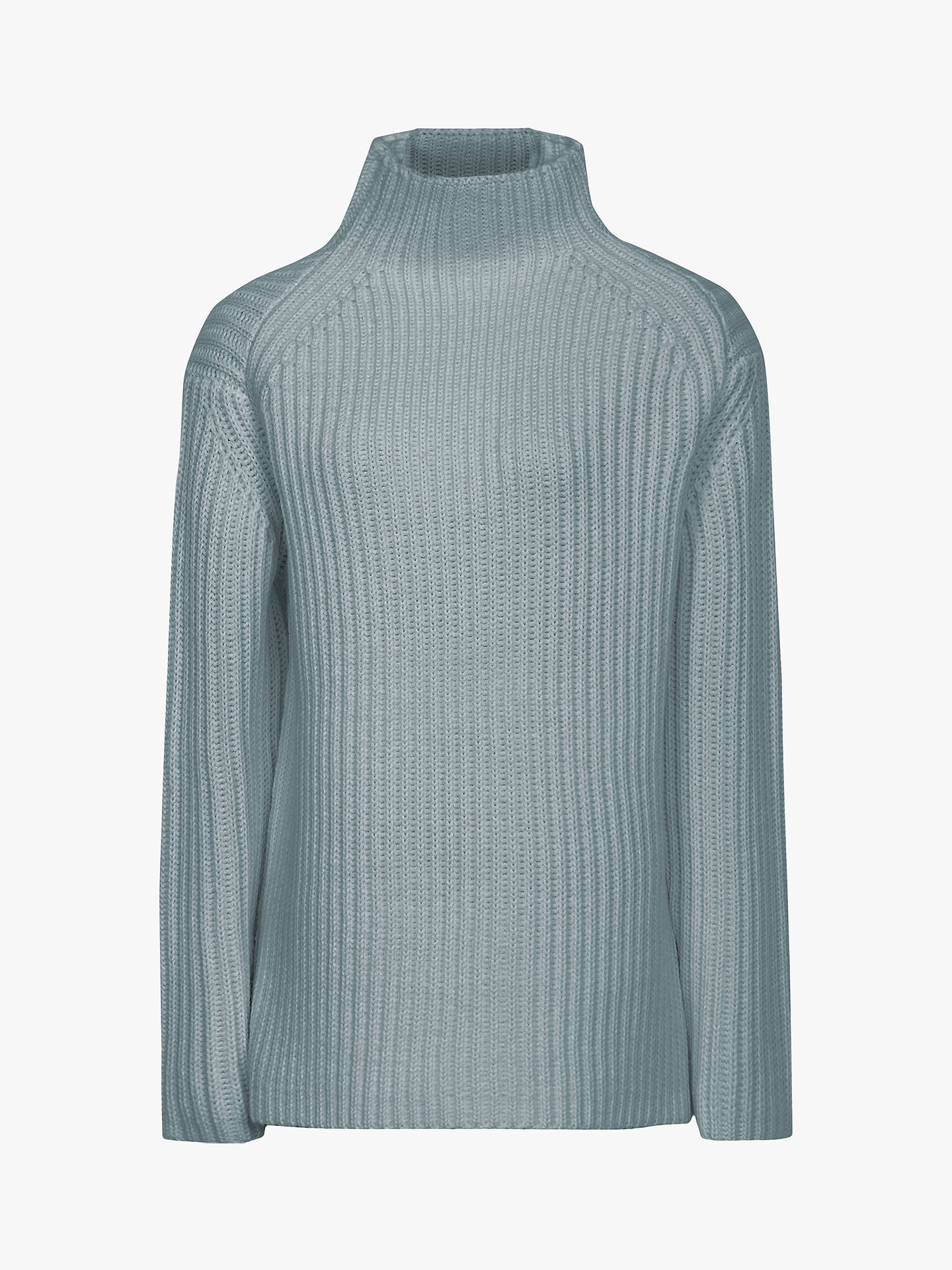 BuyReiss Sonia Chunky Rib Funnel Neck Jumper, Pale Green, S Online at johnlewis.com