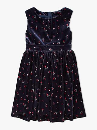 John Lewis & Partners Heirloom Collection Girls' Velvet Party Dress, Navy