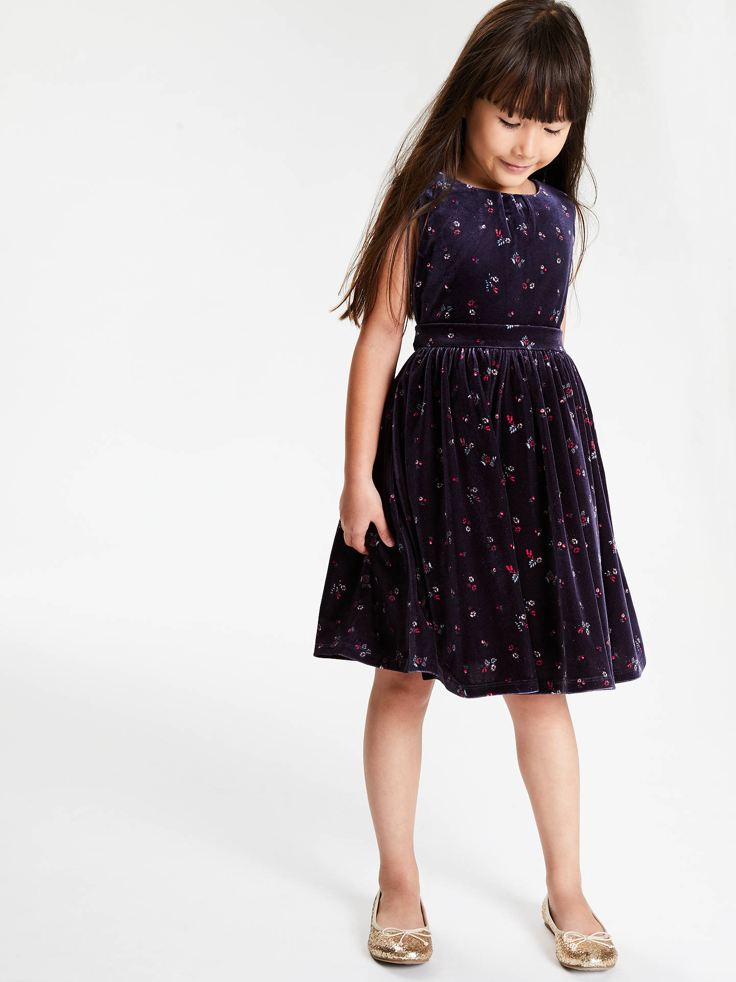 Buy John Lewis & Partners Heirloom Collection Girls' Velvet Party Dress, Navy, 4 years Online at johnlewis.com