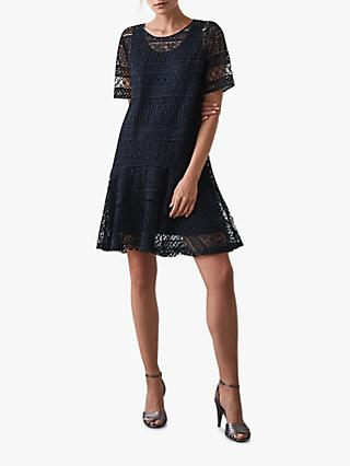 Reiss Linda Laced Shift Dress, Navy