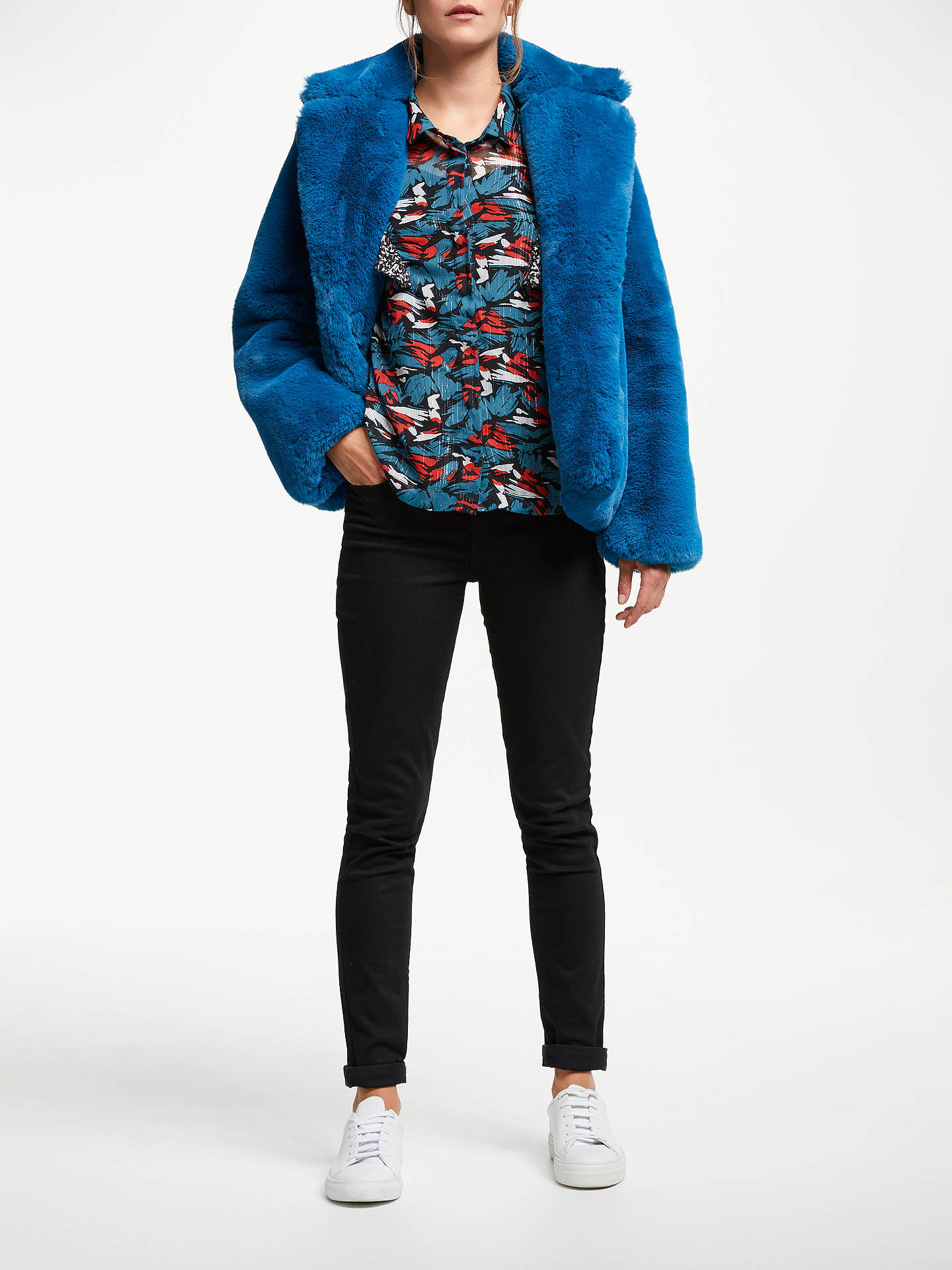 BuySUNCOO Emmy Faux Fur Coat, Blue Canard, 10 Online at johnlewis.com