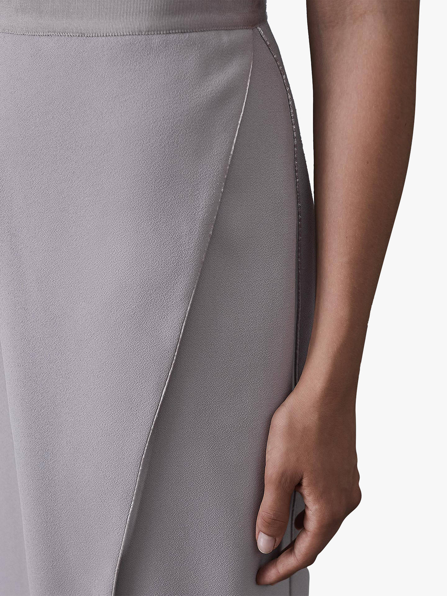 Buy Reiss Sidney Satin Wrap Front Pencil Skirt, Cloud, 14 Online at johnlewis.com