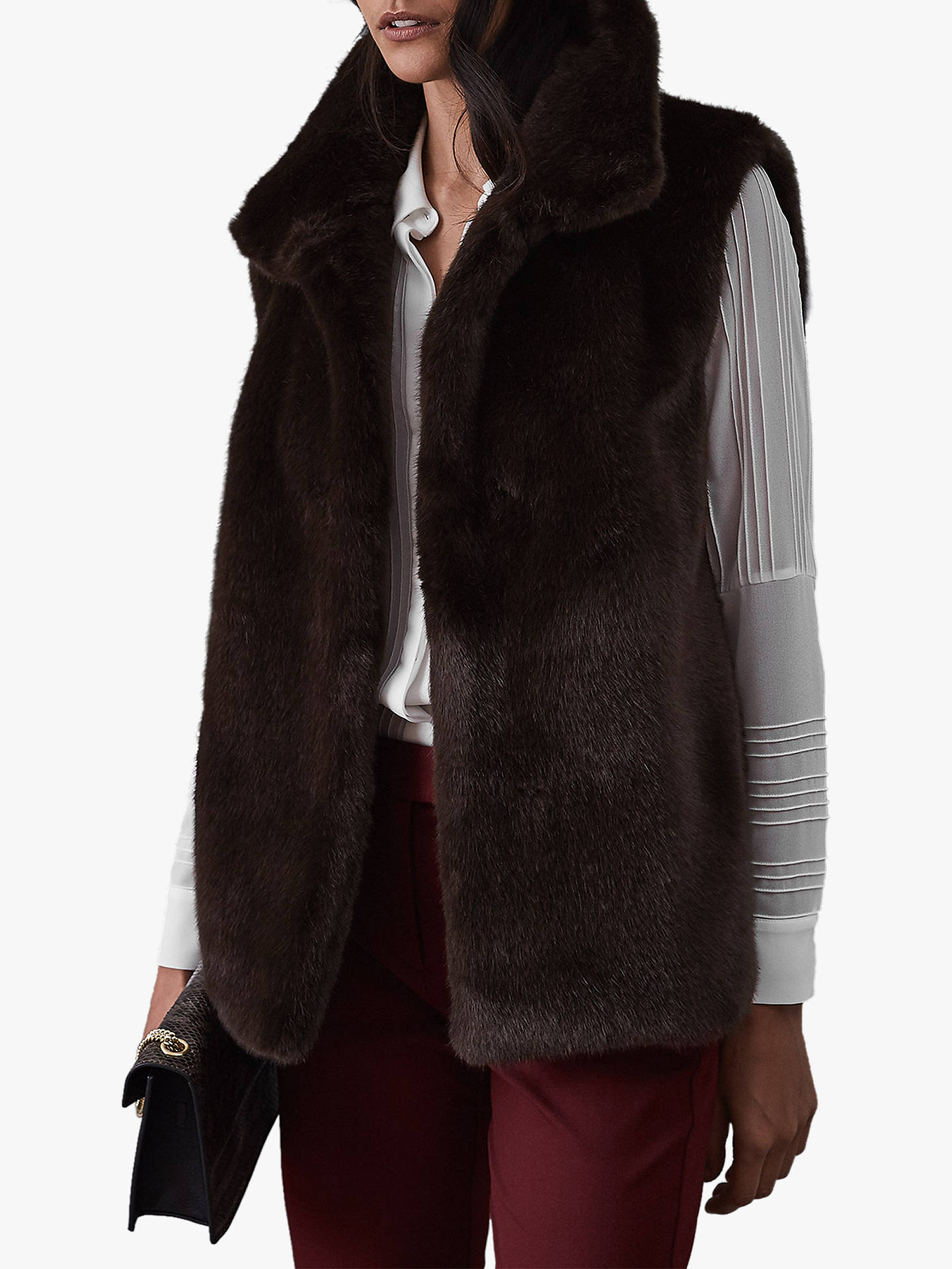 release date 854ca 95aab Reiss Fay Faux Fur Gilet, Chocolate at John Lewis & Partners