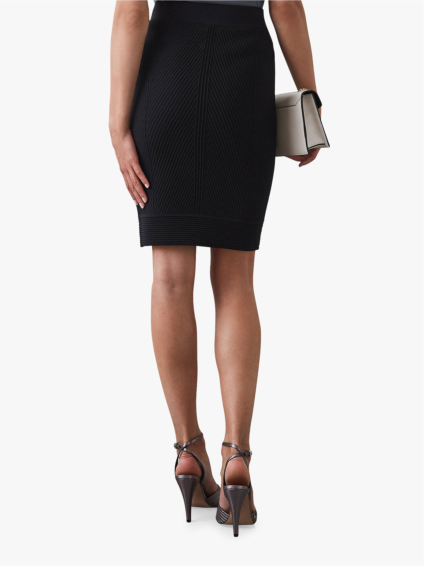 BuyReiss Melina Textured Knit Skirt, Black, XS Online at johnlewis.com
