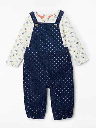 647cdec70d0c John Lewis & Partners Baby Floral Dungaree Set, Blue