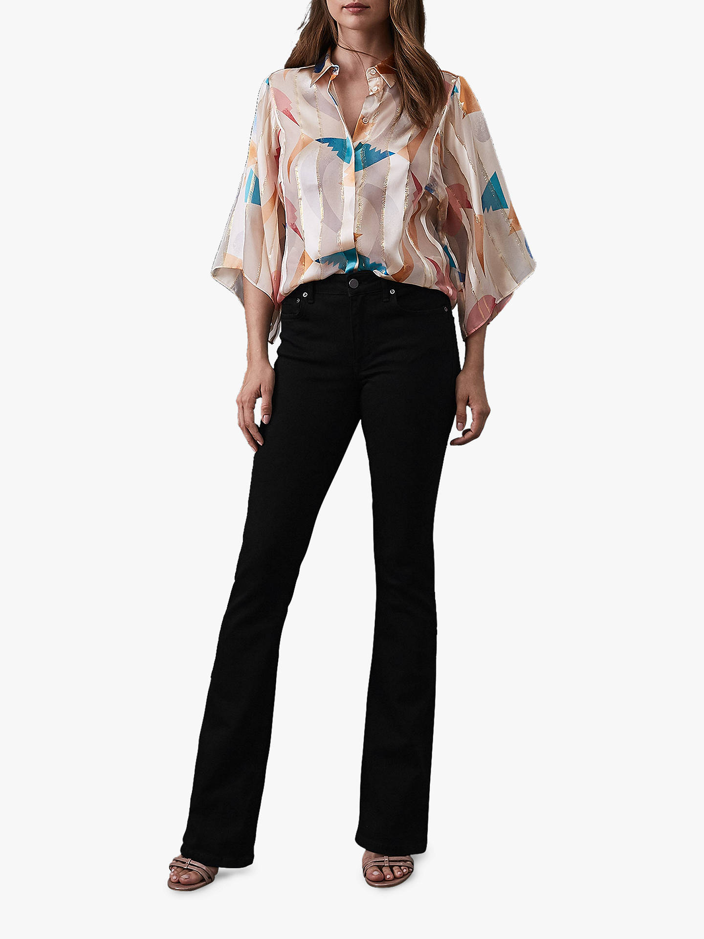 BuyReiss Semina Silk Wide Sleeved Blouse, Neutral, 8 Online at johnlewis.com