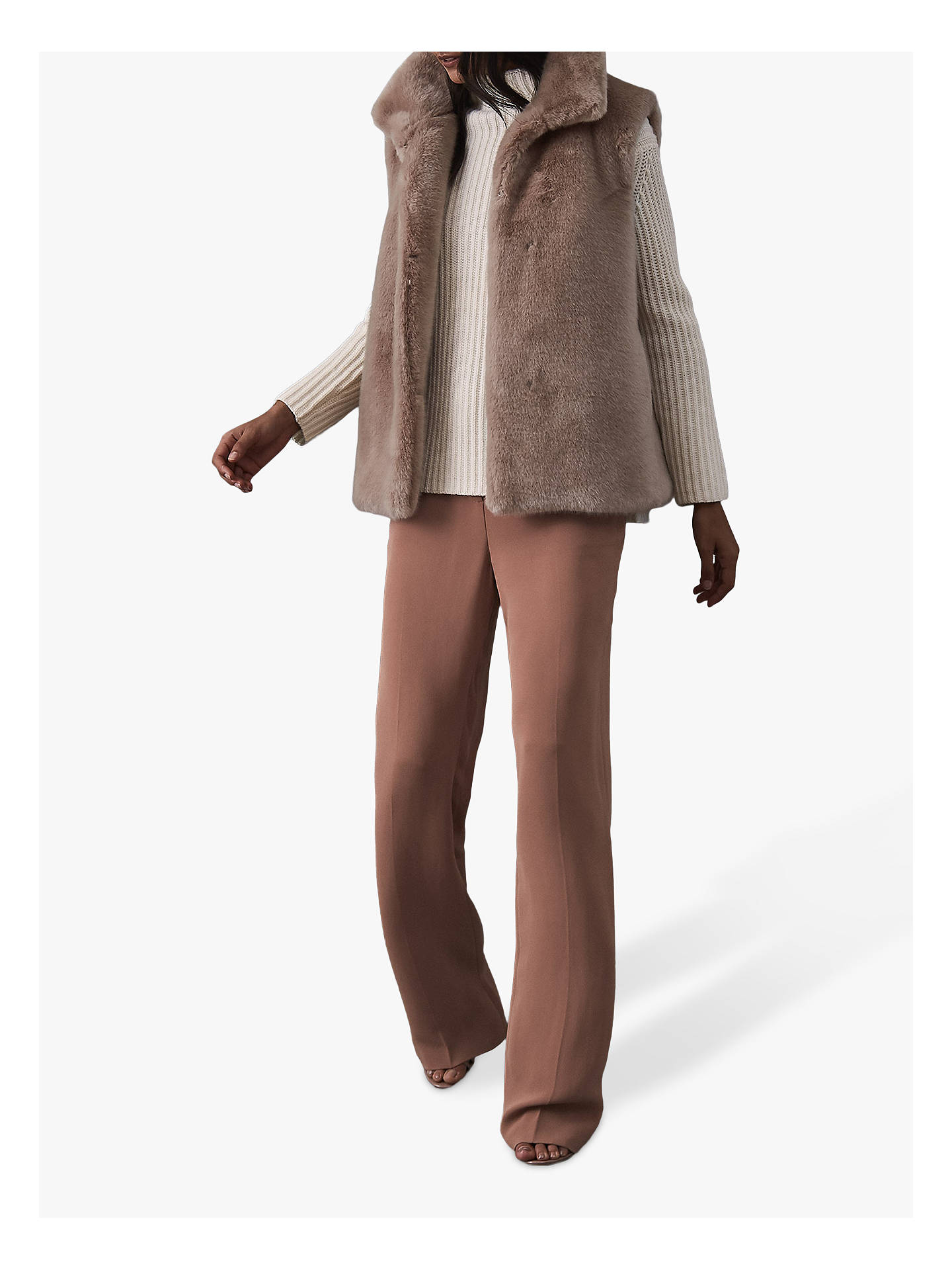 premium selection 0dbbd b234c Reiss Fay Faux Fur Gilet, Neutral at John Lewis & Partners