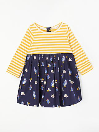 d5c05d1d9 John Lewis & Partners Baby Organic Cotton Puffin Stripe Half and Half Dress,  Multi