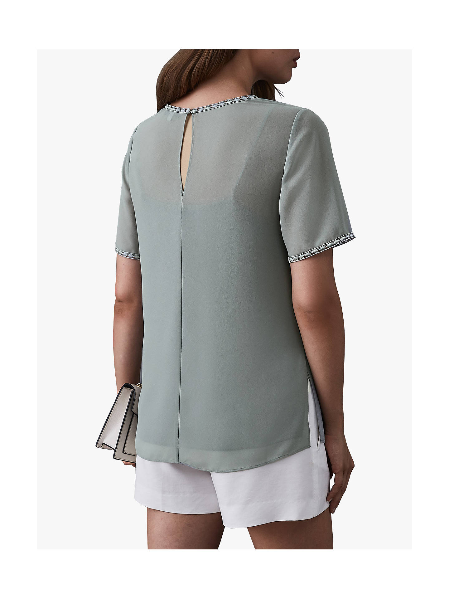 Buy Reiss Stella Lace Trim Top, Pale Green, 6 Online at johnlewis.com