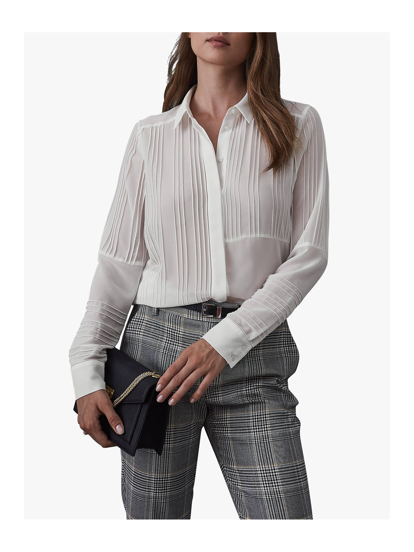Buy Reiss Lula Pintuck Rib Blouse, Ivory, 6 Online at johnlewis.com
