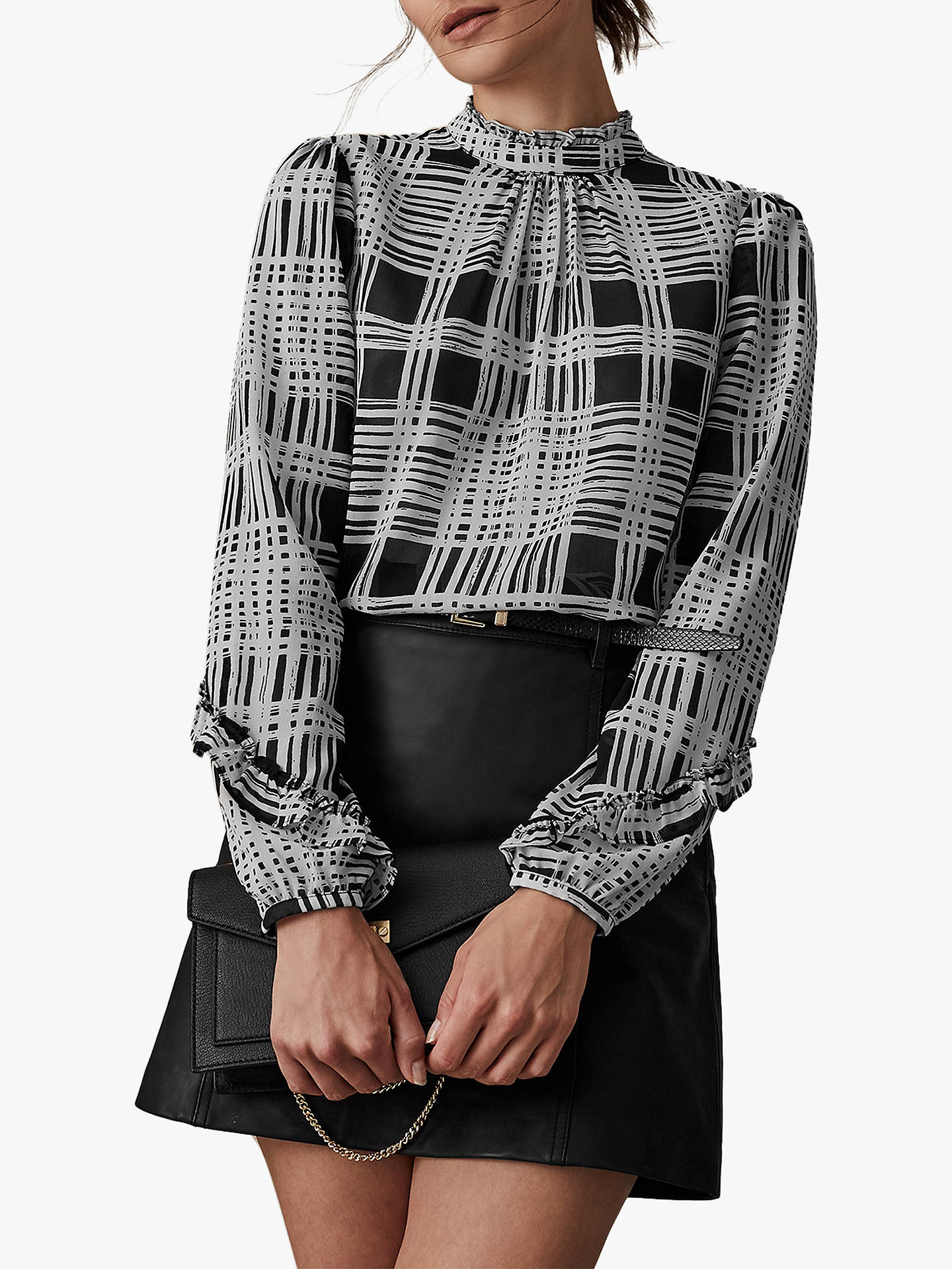 Buy Reiss Rhiana Check Print Blouse, Monochrome, 6 Online at johnlewis.com