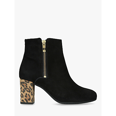 Carvela Comfort Rail Side Zip Ankle Boots, Black Suede