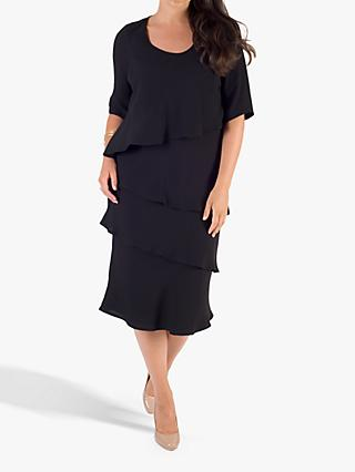 chesca Layered Knee Length Dress, Black