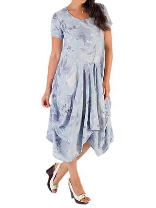 Chesca Floral Linen Drape Dress, Blue/Purple