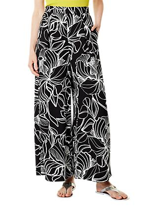 Karen Millen Floral Trousers, Black/White